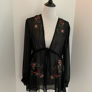 EXPRESS- Sheer embroidered top